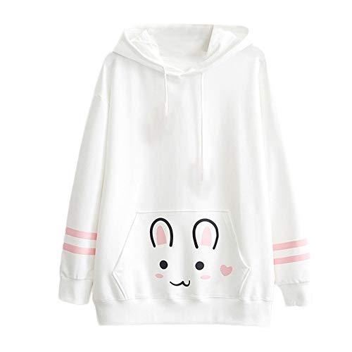 BHYDRY Kapuzenpullover Damen pärchen Pullover Plüsch-Kapuzenjacke für Damen Katze(X-Large,Weiß)
