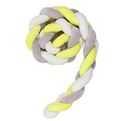 GLITZFAS 3 Weben Bettumrandung Stoßstange Baby Krippe Nestchenschlange für Babybett Kinderbett, Bettausstattung (Grau+Weiß+Gelb,2 M) (Grau Bettwäsche Gelb Krippe)