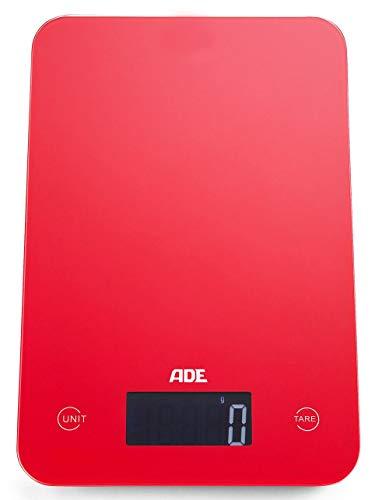 ADE Digitale Küchenwaage KE 927 Slim. Elektronische Waage im schlankem Design (nur 12 mm hoch). Präzise wiegen bis 5kg, Zuwiegefunktion Tara, Sensor-Touch. Auch für Flüssigkeiten. Inkl. Batterie. Rot