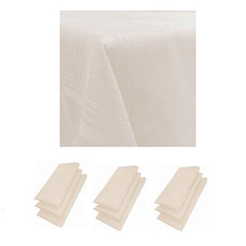 9er Pack Servietten 44cm x 44cm + Tischdecke 100% Baumwolle in Beige (Beige Serviettenringe)