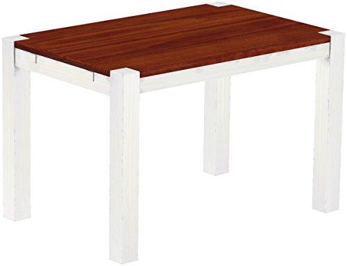Brasilmöbel® Esstisch 120x80 Rio Kanto - Mahagoni Weiss Pinie Massivholz - Größe & Farbe wählbar - Esszimmertisch Küchentisch Holztisch Echtholz - vorgerichtet für Ansteckplatten - Tisch ausziehbar
