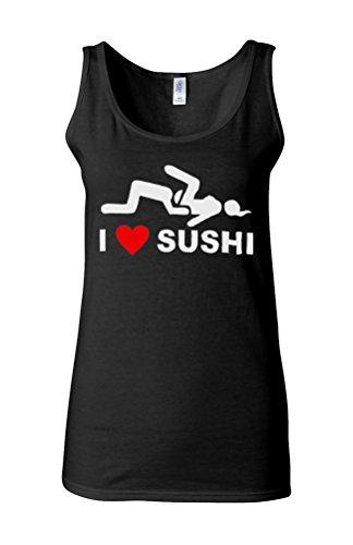 I Love Sushi 69 Joke Fresh Novelty White Femme Women Tricot de Corps Tank Top Vest *Noir