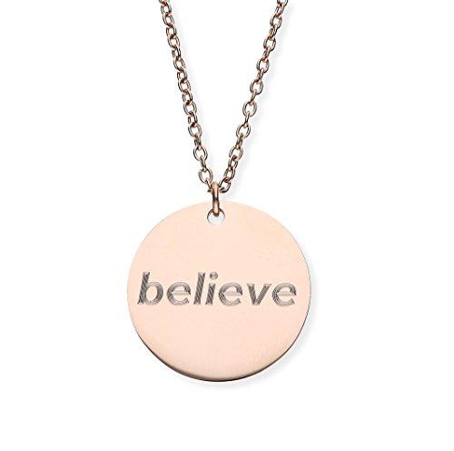 URBANHELDEN - Damen-Kette mit rundem Spruch Anhänger - Hals Kette Amulett - Edelstahl - Gravur: Believe - Rosegold