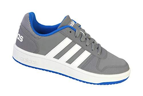 adidas Unisex-Kinder Hoops 2.0 Basketballschuhe, Grau Grey/Ftwwht/Blue, 31 EU