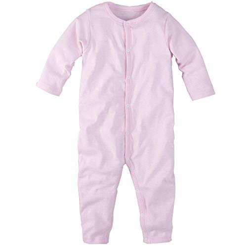 Wellyou - Pyjamas d'une Seule Pièce À Manches Longues Rose Et Blanc Rayé - 80-86 Cm