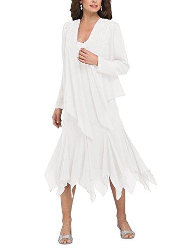 HWAN Frauen R¨¹schen Chiffon kurze Mutter der Braut Kleid mit Jacke (Abende Chiffon Alex)