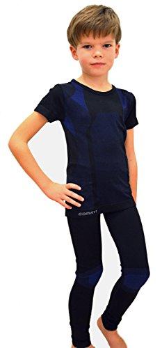 1 Set Skiunterwäsche für Kinder Kurzarm, Gr. 158/164, Set blau/schwarz knaben-unterhemd thermo-set für kinder unterhemd baumwolle bündchen optimal unterhosen mädchen bequeme angenehmen tragekomfort