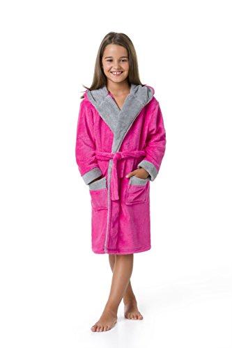 envie Kinderbademantel Morgenmantel mit Kapuze zweifarbig, Pink-grau, 146/152