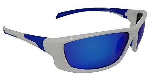778746bf5e3 Eyelevel Stingray Blanc Lunettes de soleil polarisées Bleu Miroir Cat-3  UV400 Lentilles