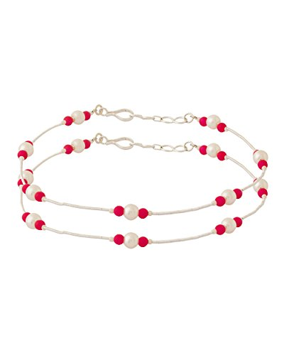 Voylla Pink Beads Studded Silver Toned Pair of Anklets  available at amazon for Rs.160