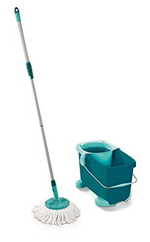 Leifheit Set Clean Twist Disc Mop mit Rotations-Mechanismus, Wischmop mit Rollwagen, Wischset für individuell dosierbare Feuchtigkeit