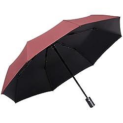 Easy Go Shopping Parasol de Voyage Sun Rain pour Femmes incassable, Grand auvent, poignée Ergonomique, Ouverture Automatique, Compact Parapluie (Color : Rouge)