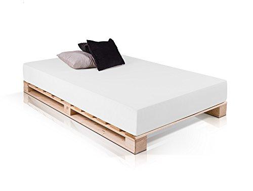 PALETTI Massivholzbett Holzbett Palettenbett Bett aus Paletten in 90 x 200 cm Fichte, Made in Germany, 90 x 200 cm, Fichte natur