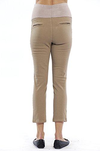 Damen Hose Umstandshose 7/8 Länge, Slim-Fit Chino Hose für die Schwangerschaft knöchellang mit praktischem Gummizug - in verschiedenen Farben Beige