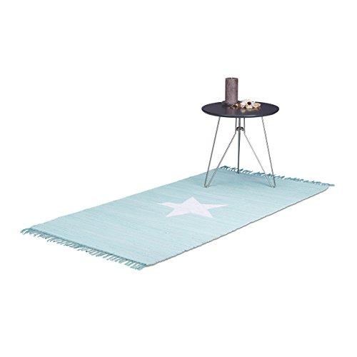 Relaxdays Alfombra con Estampado de Estrella, Algodón, Azul Claro, 70x140 cm
