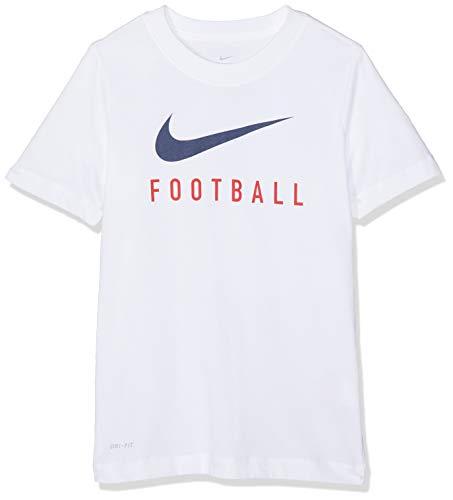 d77882e1e2f96 Nike B NK Dry tee Swoosh Football T-Shirt, Niños, White/Midnight Navy, M