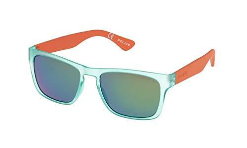 Police S1988 Trick 2 Wayfarer Sonnenbrille, SEMI MATT TRANSPARENT LIGHT GREEN & ORANGE FRAME / GREEN MIRROR LENS