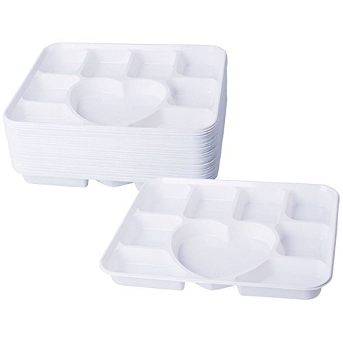 Deluxe Heavy Duty 9 Compartment Heart Plastic Dinner Plates 50pc Party Home Food Disposable Section Tray by Concept4u (Halloween Foods Dinner)