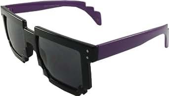 Pixel Black Lens 90's Retro Style - Purple Handles - Black Frame