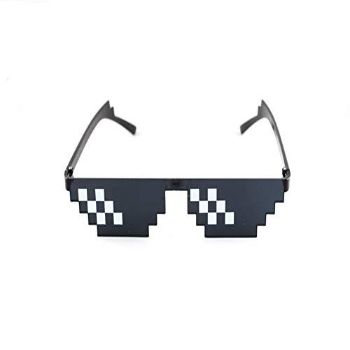 Unbekannt Thug Life Mosaik Pixel Gläser um Die Welt Sonnenbrille Männer Frauen Party Retro Zweite Element Schwarz Sonnenbrille (Thug Kostüm Kinder)