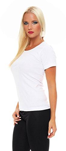 2er Pack Damen Hemd kurzarm (T-Shirt, Top, Unterhemd) Nr. 422 ( Weiß / 44/46 ) - 2