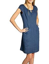 Caspar SKL020 Vestido Corto de Verano de Lino para Mujer - Decoración  Metálica f50e0c5df65