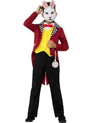 Halloweenia - Jungen Mädchen Kinder White Rabbit Kostüm mit Frack, Wwste mit Fliege und Maske, perfekt für Karneval, Fasching und Fastnacht, 140-152, Rot