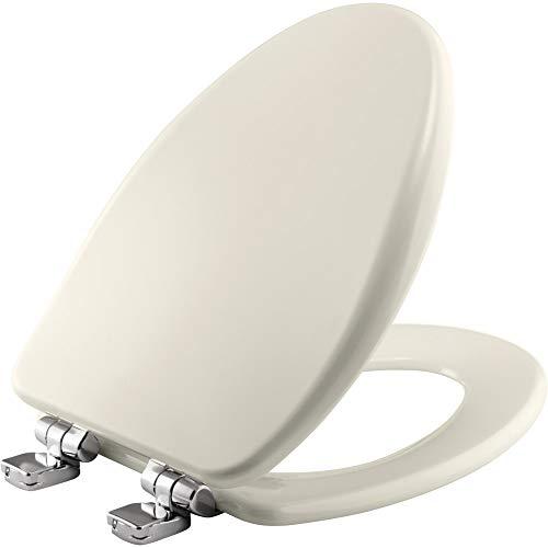 Längliche Hohe Dichte geformt WC-Sitz aus Holz mit stylischer, sichere chrom whisper-close mit leicht reinigen und wechseln Scharniere mit-Tite (Längliche Holz-wc-sitz Schwarz)