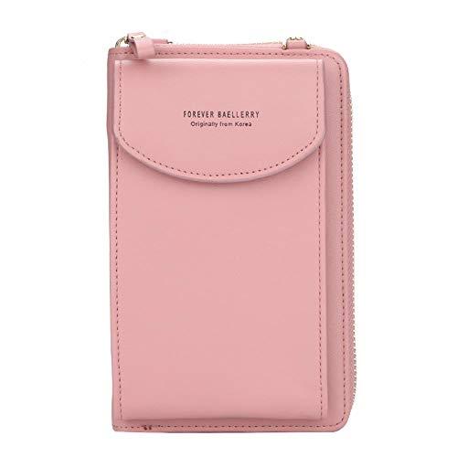 Ms. Diagonal, borsetta piccola, a tinta unita, multifunzione, per cellulari nella sezione lunga, pochette da donna Rosa Dark Pink taglia unica