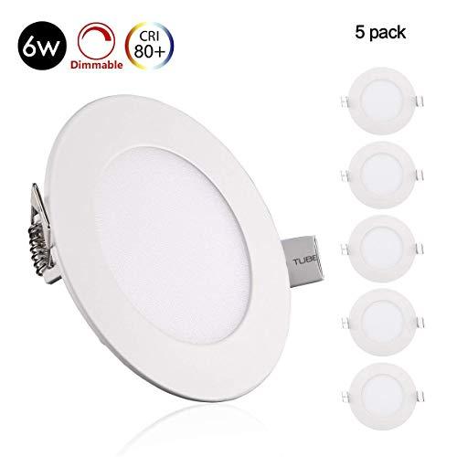 5er Greenclick 9W / 12W/6W LED Panel Weiß rund Deckenleuchte Dimmbar Einbaustrahler, extrem flach,220V 720Lumen ersetzt 60W Leuchtstoffröhren LED Deckenleuc (3000k, 6w Rund Panel)