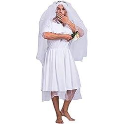 EraSpooky Uomo Addio al Celibato Divertente Costume Bianca Sposa Matrimonio Vestito