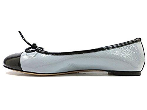 18 KT ballerines Femme cuir verni bleu clair/Noir