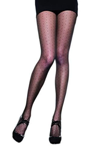 Selente Lovely Legs raffinierte Damen Strumpfhose in Strapsstrumpf-Optik, 30 DEN, Made in EU, schwarz-Pünktchen-30den, Gr. S