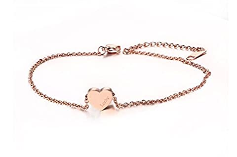 Vnox Stainless Steel Rose Gold Heart Charm Lucky Anklet Delicate Foot Chain with Extension Chain for Women