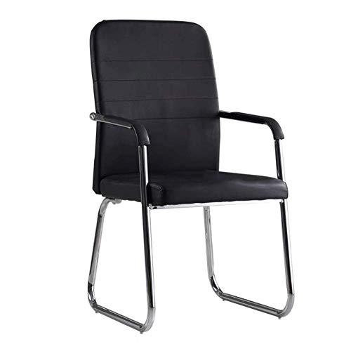 Moderne Esszimmerstühle - Ergonomischer Stuhl, Bogenförmiger Ledersessel for Zuhause/Computer/Büro/Chef/Besprechung/Personal/Schulungsklasse/Schachzimmer Schwarz 53x51x102CM Geeignet for