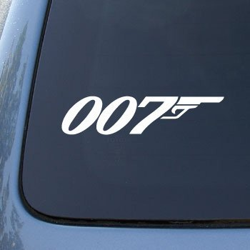 007 JAMES BOND-Vinyl Car Decal Sticker#1763/Vinyl Color: White (White James Auto)