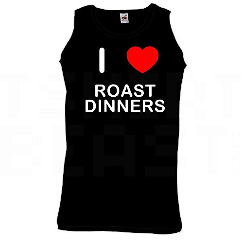 BadgeBeast.co.uk I Love Heart Roast Dinners - Extra große Schwarze Weste