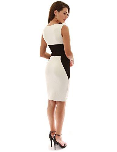 PattyBoutik femmes encoche cou robe taille empire ivoire et noir