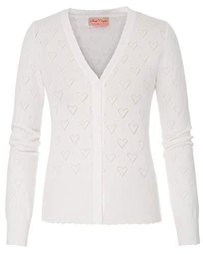 Belle Poque Festliche Cardigan Damen Feinstrick lamgarm weiß Outwear Mode Strickjacke XL BP748-2