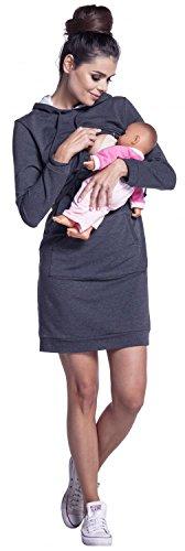Zeta Ville - Stillzeit Kapuzenpullover-Kleid Schwangere Langarm - Damen - 208c Graphit Melange