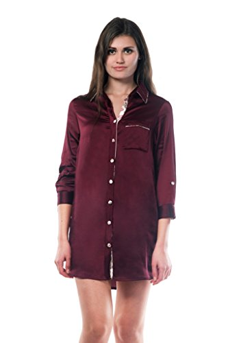 Miss Chase Women's Maroon Collared Button Down Sleep Shirt