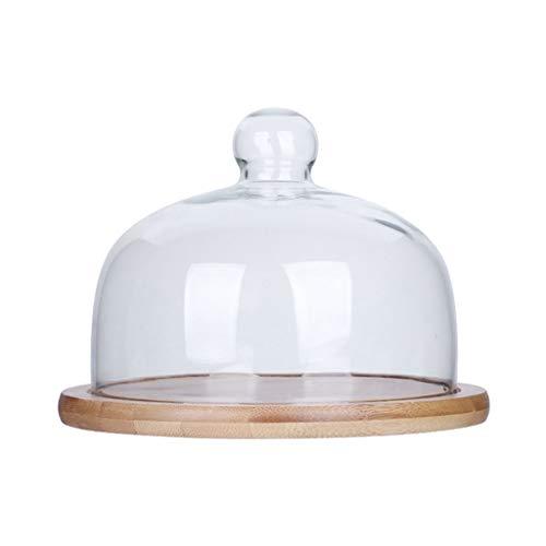 C-J-Xin Pain ménage dôme, verre dôme gâteau dôme assiette à dessert salon plateau de mariage dôme transparent Pizza Dôme plat de fruits (taille : 26 * 26 * 11CM)