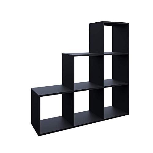 Vicco Treppenregal 6 Fächer Raumteiler Stufenregal Bücherregal Raumtrenner Aktenregal Standregal (schwarz) (Schwarz) -
