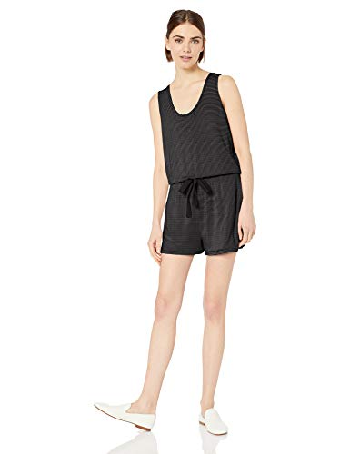 Daily Ritual Supersoft Terry Sleeveless Romper rompers-apparel, Black/White Stripe, US (EU XS-S) -
