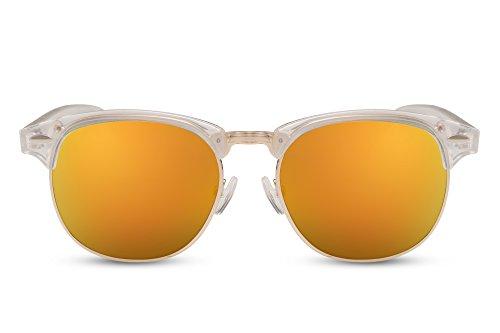 Cheapass Sonnenbrille Transparent Weiß Verspiegelt Modern Unisex