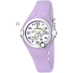 Calypso Girl's Quartz Watch with White Dial Analogue Display and Purple Plastic Strap K5562/4