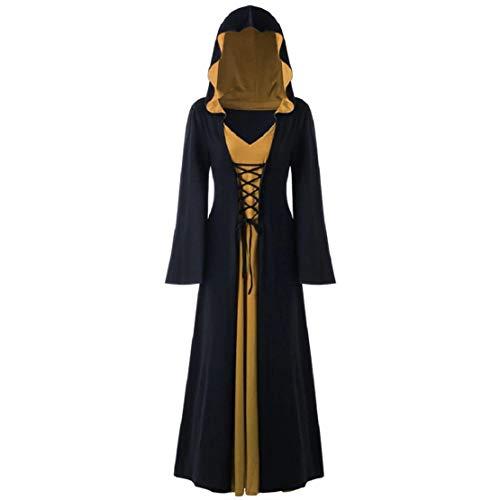 Bluelucon Frauen Plus Size Halloween Kapuze Lace Up Patchwork Langarm langes Kleid Frauen Nähen Halloween Langarm Kleid Robe -