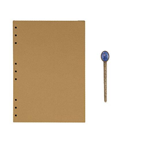 B5 9-Ring Binder Planer Refill Papier für Tagebuch Notizbuch Ringbuch Reisetagebuch Kraftpapier Nachfüllpapier Notizpapier Ersatzblätter Büro Schule Schreiben (100 Blätter) (Kraftpapier Binder)