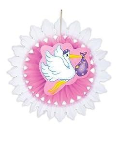 WIDMANN Rosa Stork Flag Paper Fan Prop Party Fancy Dress 50cm Accessory