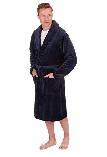 Herren Luxus Fleece Morgenmantel Blau